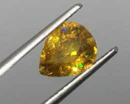 1.83 Carat Sphene Rainbow Flash Pear - Russian Beauty - Rare !