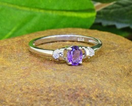 N/R Natural Amethyst 925 Sterling Silver Ring Size 6 (SSR0428)