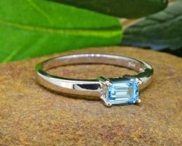 N/R Natural Blue Topaz 925 Sterling Silver Ring Size 10 (SSR0429)