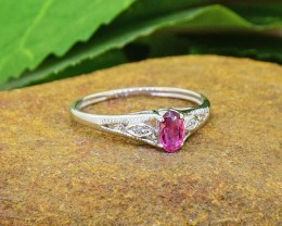 N/R Natural Pink Tourmaline 925 Sterling Silver Ring Size 5 (SSR0430)