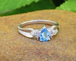 N/R Natural Blue Topaz 925 Sterling Silver Ring Size 5(SSR0431)