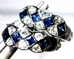 19.10 CTS- SAPPHIRE EARRING BLUE AND WHITE  SG-2713