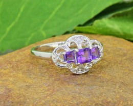 N/R Natural Amethyst 925 Sterling Silver Ring Size 7 (SSR0434)