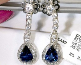 14.80 CTS- SAPPHIRE EARRING BLUE AND WHITE  SG-2719