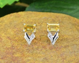 N/R Natural Citrine  925 Sterling Silver Earrings(SSE0439)
