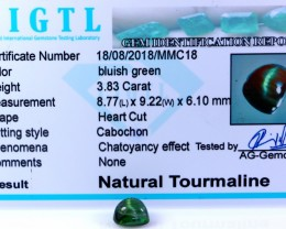 Certified|CIGTL| ~3.83 Cts Museum Grade Green color Tourmaline Cab