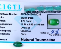 Certified|CIGTL| ~4.22Cts Museum Grade Green color Tourmaline Cab