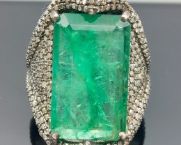 54.75 Crt Certified Natural Diamond & Emerald Ring 925 Silver  (R 2