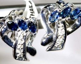 13.90-CTS  SAPPHIRE EARRING BLUE AND WHITE  SG-2725