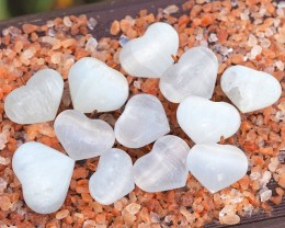 Parcel 12 Heart shape Selenite Pendants WS325