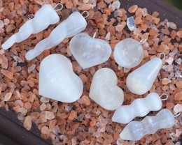 Parcel  9 Mix Shaped Selenite Pendants WS332