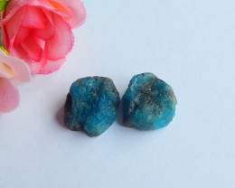 34ct 2pcs Natural Blue apatite cabochon beads nugget shape (18091126)