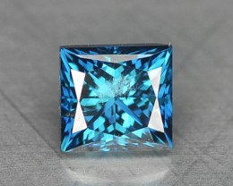 0.11 Cts Natural Fancy Blue Diamond Princess Cut Africa