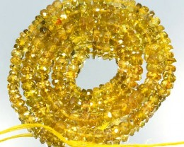 41.71 Cts Natural Canary Yellow Tourmaline Beads Roundel Mozambique