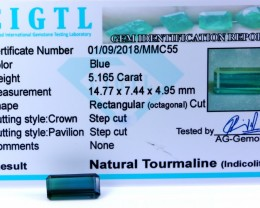 Certified|CIGTL| ~5.165 Cts Museum Grade Blue color Tourmaline Gem