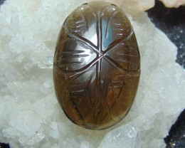NATURAL Brown  ~ quartz ~ nice carvings  49.95cts
