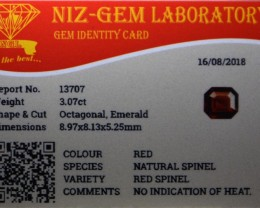 No heat treatment natural spinel certified.  Stone is VVS clarity or better.