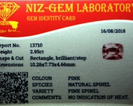 No heat certified pink natural spinel.