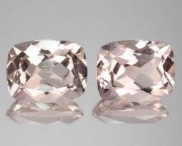 ~PAIR~ 4.16 Cts Natural Light Pink Morganite Cushion Cut Brazil