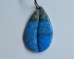 58.5ct Natural lapis lazuli carved leaf  pendant bead (18091141)