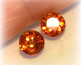 4.50mm Tangerine Spessartite Garnet Pair Jewellery grade gems