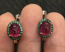 21ct Red Ruby and Green Cz Sterling 925 Silver Earrings