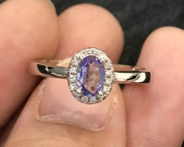 13.6ct Violet Blue 925 Sterling Silver Tanzanite US 7