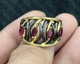 35.5ct Red Ruby 925 Sterling Silver Ring US 7