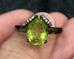 19.7ct Green Peridot 925 Sterling Silver Ring US 9