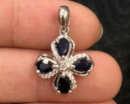 10ct Blue Sapphire 925 Sterling Silver Pendant