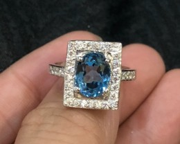 21.95ct Blue Topaz 925 Sterling Silver Ring US 7.75