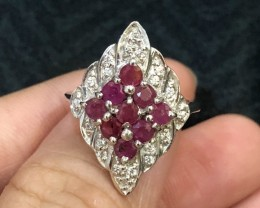 17.3ct Red Ruby 925 Sterling Silver Ring US 6.25