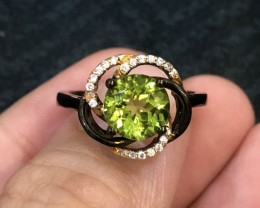 20ct Green Peridot 925 Sterling Silver Ring US 6.75