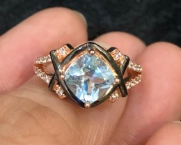 17.85ct Blue Topaz 925 Sterling Silver Ring US 6