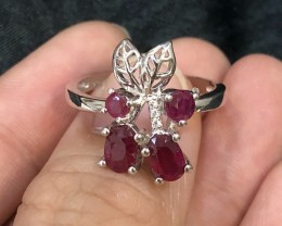 17ct Red Ruby 925 Sterling Silver Ring US 8