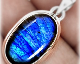 Fabulous Sheen Electric Blue Labradorite Sterling Pendant