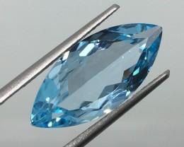8.55 Carat VVS Topaz Swiss Blue Magnificent Marquise - Sparkling Quality !