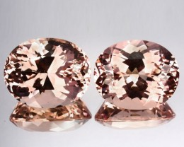 23.30 Cts Natural Peach Pink Morganite 2 Pcs Oval Cut Brazil