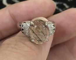 16.5ct Black Rutilated Quartz Sterling 925 Silver Ring US 6.5
