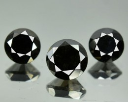 0.77 Cts Natural Black Diamond 3 Pcs Round Africa