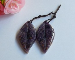 57.5ct Natural fluorite gemstone carved leaf   Earring Pair (18091151)