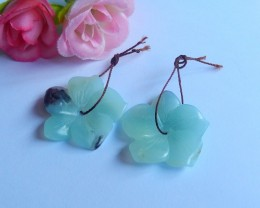 39.5ct Natural amazonite carved flower  Earring Pair(18091152)