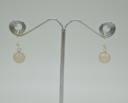 NATURAL UNTREATED ROSE QUARTZ EARRINGS 925 STERLING SILVER JE914
