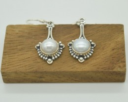 NATURAL UNTREATED PEARL EARRINGS 925 STERLING SILVER JE915