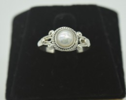 NATURAL UNTREATED PEARL RING 925 STERLING SILVER JE916