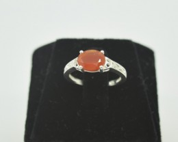 NATURAL UNTREATED CARNELIAN RING 925 STERLING SILVER JE917