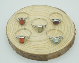 SET OF 5 RINGS NATURAL+UNTREATED GEMSTONES 92.5 STERLING SILVER JEWELRY JE-