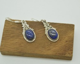 NATURAL UNTREATED LAPIS EARRINGS 925 STERLING SILVER JE927