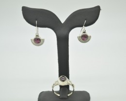 NATURAL UNTREATED GARNET EARRINGS+RING SET 925 STERLING SILVER JE