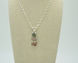 NATURAL UNTREATED TOURMALINE PENDANT 925 STERLING SILVER JE930